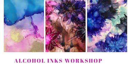 Alcohol inks artwork on canvas workshop  tickets