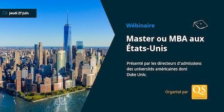 WEBINAIRE: Masters & MBA aux États-Unis billets