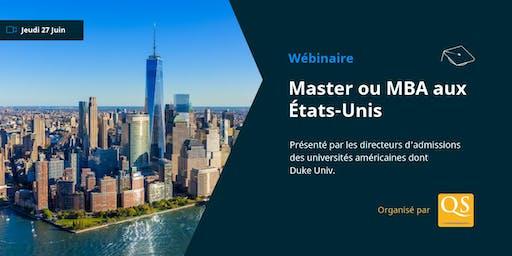 WEBINAIRE: Masters & MBA aux États-Unis