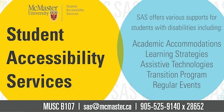 SAS 101: Introduction to McMaster and Student Accessibility Services (SAS) tickets