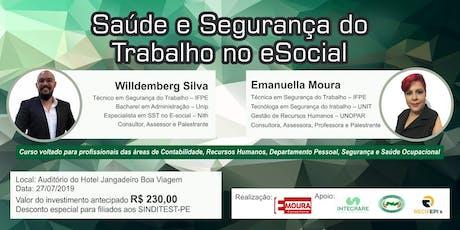 Saúde e Segurança do Trabalho no eSocial Recife ingressos