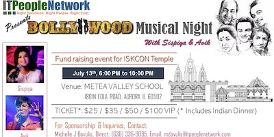 Bollywood Musical Night - July 13th, 2019 - Fund Raising For ISKCON