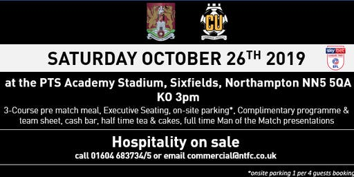 CAMBRIDGE UNITED HOSPITALITY AT NORTHAMPTON TOWN FOOTBALL CLUB