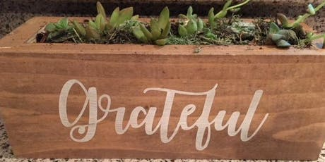 Wood planter Succulent Garden - Choose your word - Paint 'n Plant - BYOB tickets