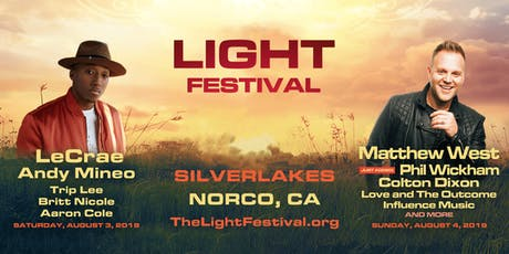 Light Festival - SilverLakes, August 3 & 4 with Matthew West, LeCrae, Phil Wickham, Andy Mineo, Colton Dixon, Trip Lee tickets