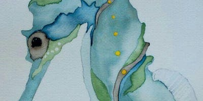 Watercolor Seahorse Paint Night