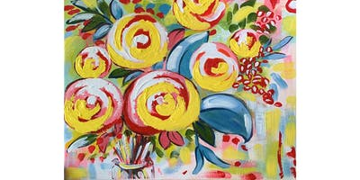 Ally's Art - Flowers abstract - fun painting class in Wheeling, IL