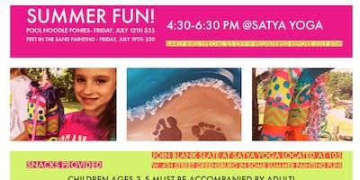 Summer Fun Pool Noodle Ponies and Beach Scene