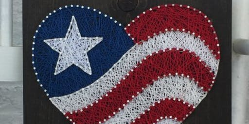 American Flag HEART String Art