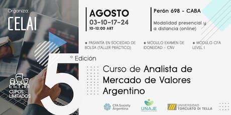 Curso de Analista de Mercado de Valores Argentino l 5ta Edición tickets