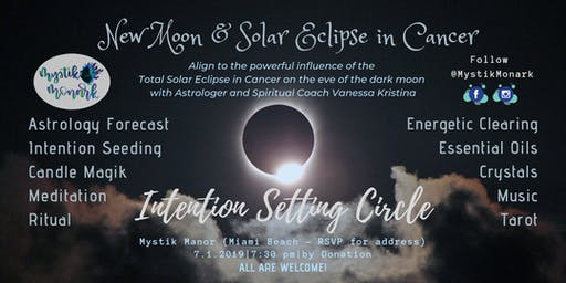 New Moon and Solar Eclipse in Cancer Intention Setting Circle