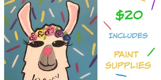 Kids Llama paint party! Friday June 28th 5-6:30pm @ The Kreativ Studio