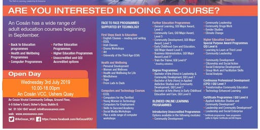 An Cosán VCC OPEN DAY 3rd July 2019 - Discover your potential through blended online learning