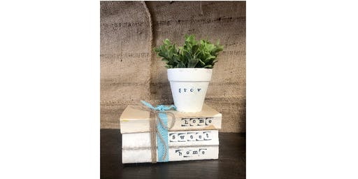 Stamped Book set and pot with plant