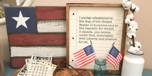 I Pledge Allegiance sign with flags