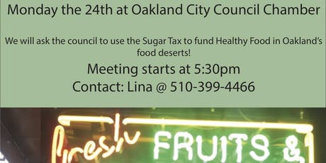 Call for Action: Oakland Sugar Tax for Healthy Food tickets