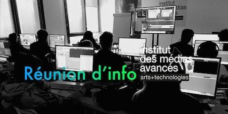 Institut des médias avancés - Lyon - Réunion d'information billets