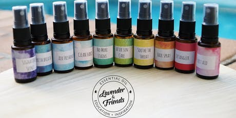 Essential Oil Sprays Make and Take tickets