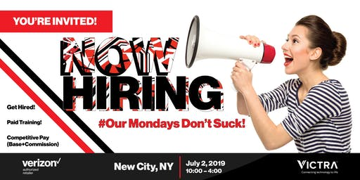 Get hired! Live interviewing/Hiring for Victra July 2nd New City, NY