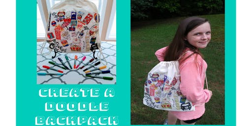 Kids Art Class - Doodle Drawstring Backpack