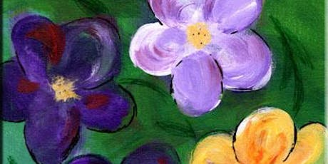 "1pm Class! ""Topsy-Turvy Flowers"" Acrylic Painting Class 1-2:30PM 7/18 tickets"