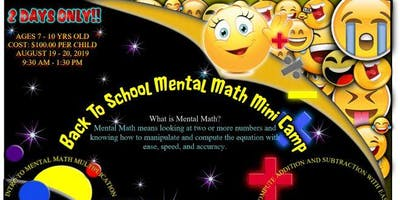 Mental Math Mini Camp 2 DAYS ONLY - MONDAY, AUG 19TH - TUESDAY, AUG 20TH