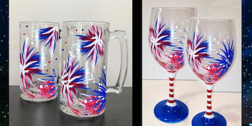 4th of July Fireworks Wine Glasses - Sip & Paint Party Art Maker Class