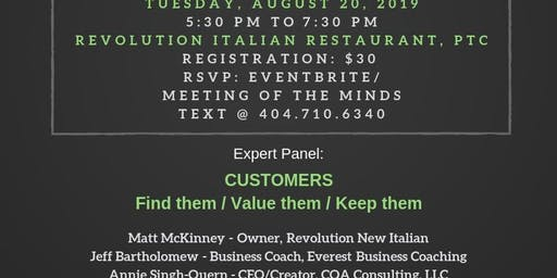 Meeting of the Minds for Entrepreneurs and Influencers - Tuesday, August 20, 2019