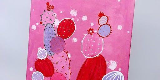 Beginner  Art Panting Event- Pink cactus-2 Hrs