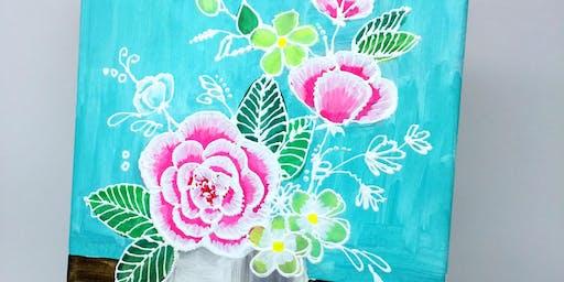 Beginner Art Painting Event - 3D Flowers - 2 Hrs