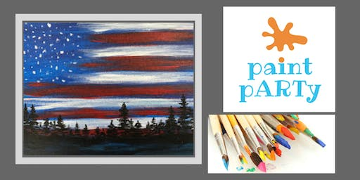 Paint'N'Sip Canvas - Flag Night Sky - $35 pp