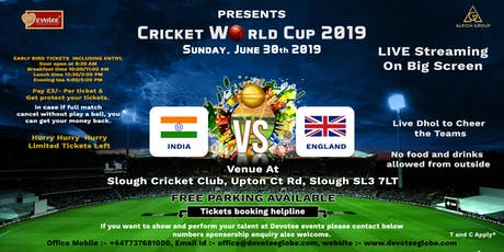 Cricket World Cup India vs England tickets