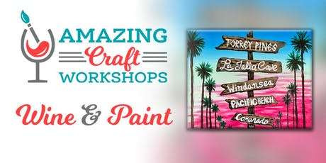 Wine & Paint Workshop - San Diego Tiki Painting! tickets