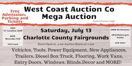 West Coast Auction  Free Entry,Appliances, Vehicles  & more - Mega Auctio tickets