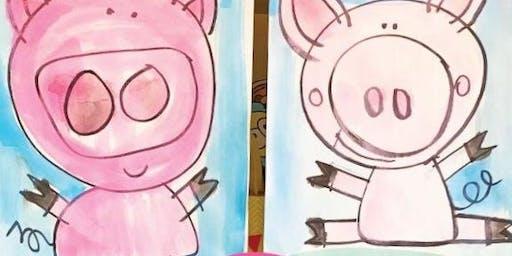Kids Canvas at the Fairgrounds-Pig Canvas