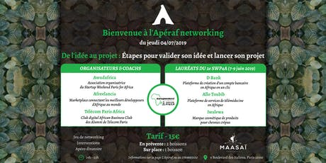 L'Apéraf networking du jeudi 4 juillet • Startup Weekend Paris for Africa tickets