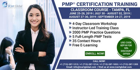 PMP® Exam Prep Training and Certification in Tampa,FL, USA | Use Code ICP10 For Flat 10% Discount On The (PMP) Course Price.  tickets
