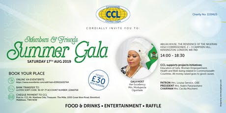 THE COMMONWEALTH COUNTRIES LEAGUE MEMBERS & FRIENDS SUMMER GALA tickets