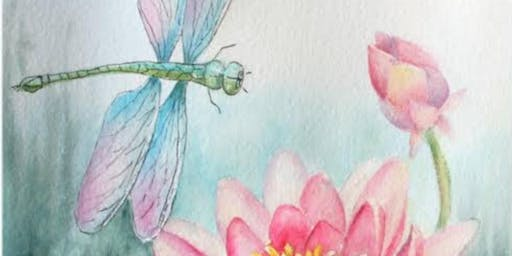 Dragonfly and lotus flowers