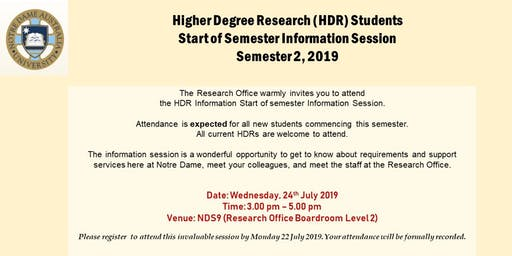 Higher Degree by Research (HDR) Students Information Session