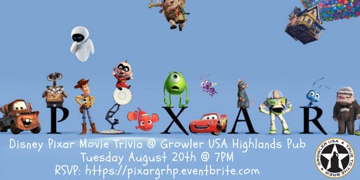 Disney Pixar Movie Trivia at Growler USA Highlands Pub