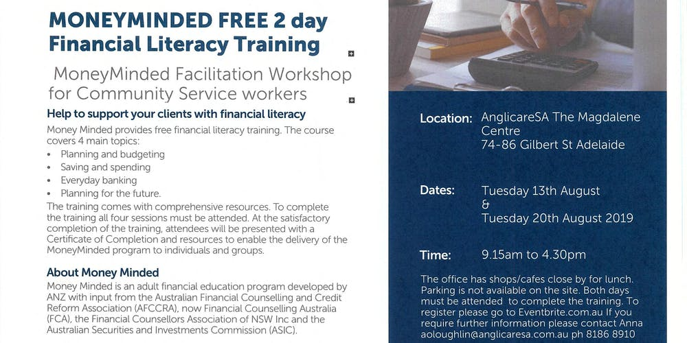 MoneyMinded 2 Day FREE Financial Literacy training Adelaide Tickets