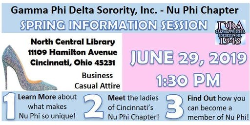 Gamma Phi Delta Sorority, Inc. - Nu Phi Chapter: Formal Information Session