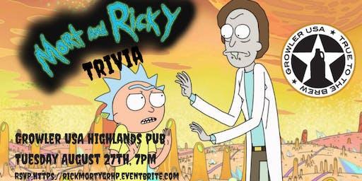 Rick & Morty Trivia at Growler USA Highlands Pub