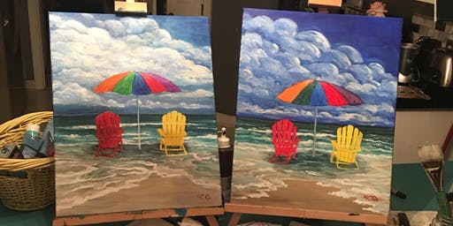 """Chathamites Wine & Paint at Pickle Jar Cafe : """"Beach Trip"""" painting"""