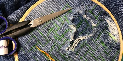 Creatively repair your loved jeans