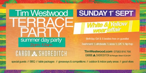 Tim Westwood Summer Terrace Day Party - white & yellow wear affair