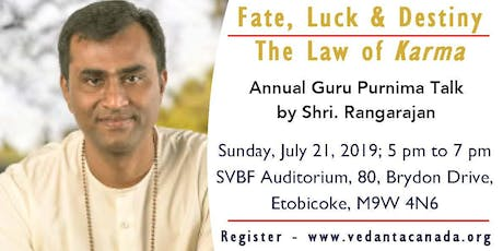 Guru Purnima Annual Event 2019 - 'Fate, Luck & Destiny - The Law of Karma'   tickets