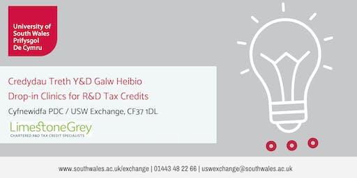 23/07/19 Drop-in Clinics for R&D Tax Credits with Limestone Grey | Credydau Treth Y&D Galw Heibio am Limestone Grey
