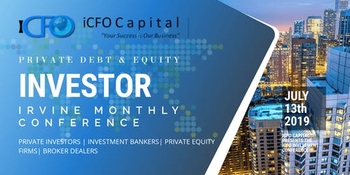 Event Announcement October 19th - iCFO Capital Investment Conference, Del Mar, CA